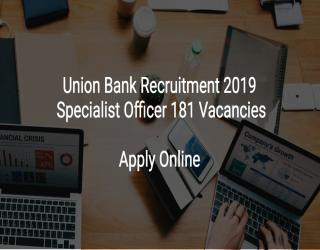 Union Bank Of India Jobs Recruitment 2019 – Specialist